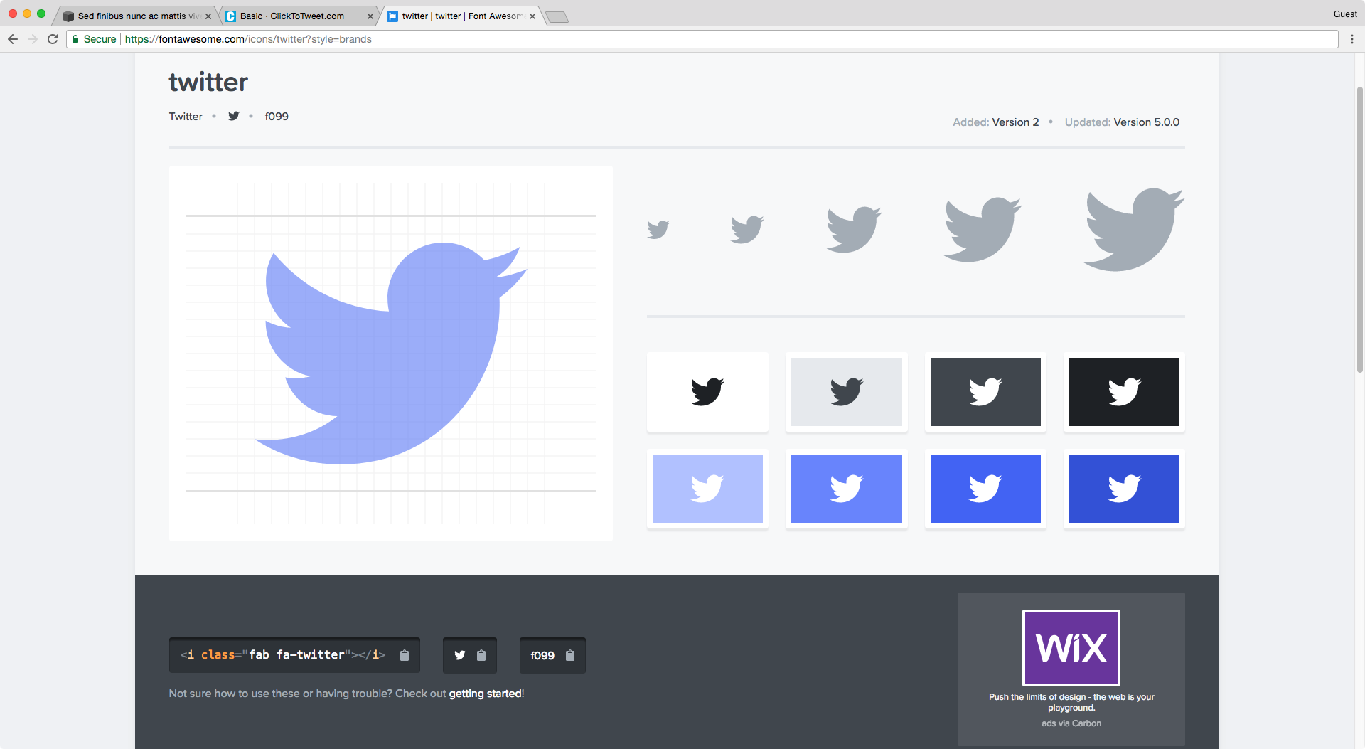 Using Font Awesome's Twitter icon for a Click to Tweet box in Squarespace