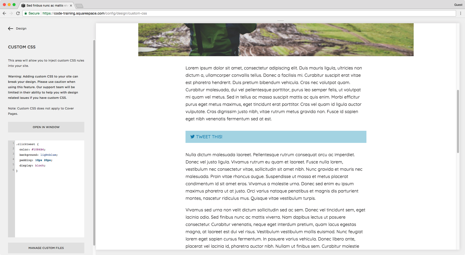 Making the click to tweet quote the same width as the blog post content