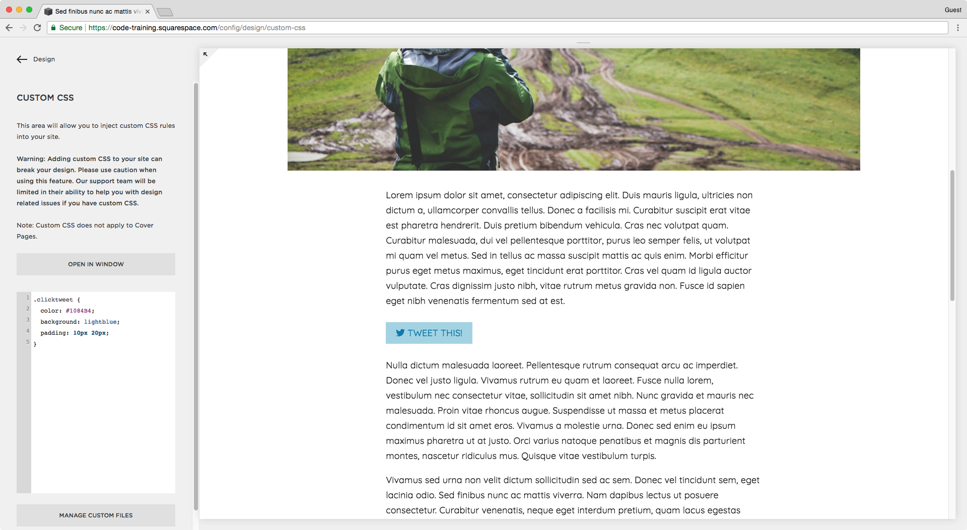 Adding a background color to the tweet this link in a blog post