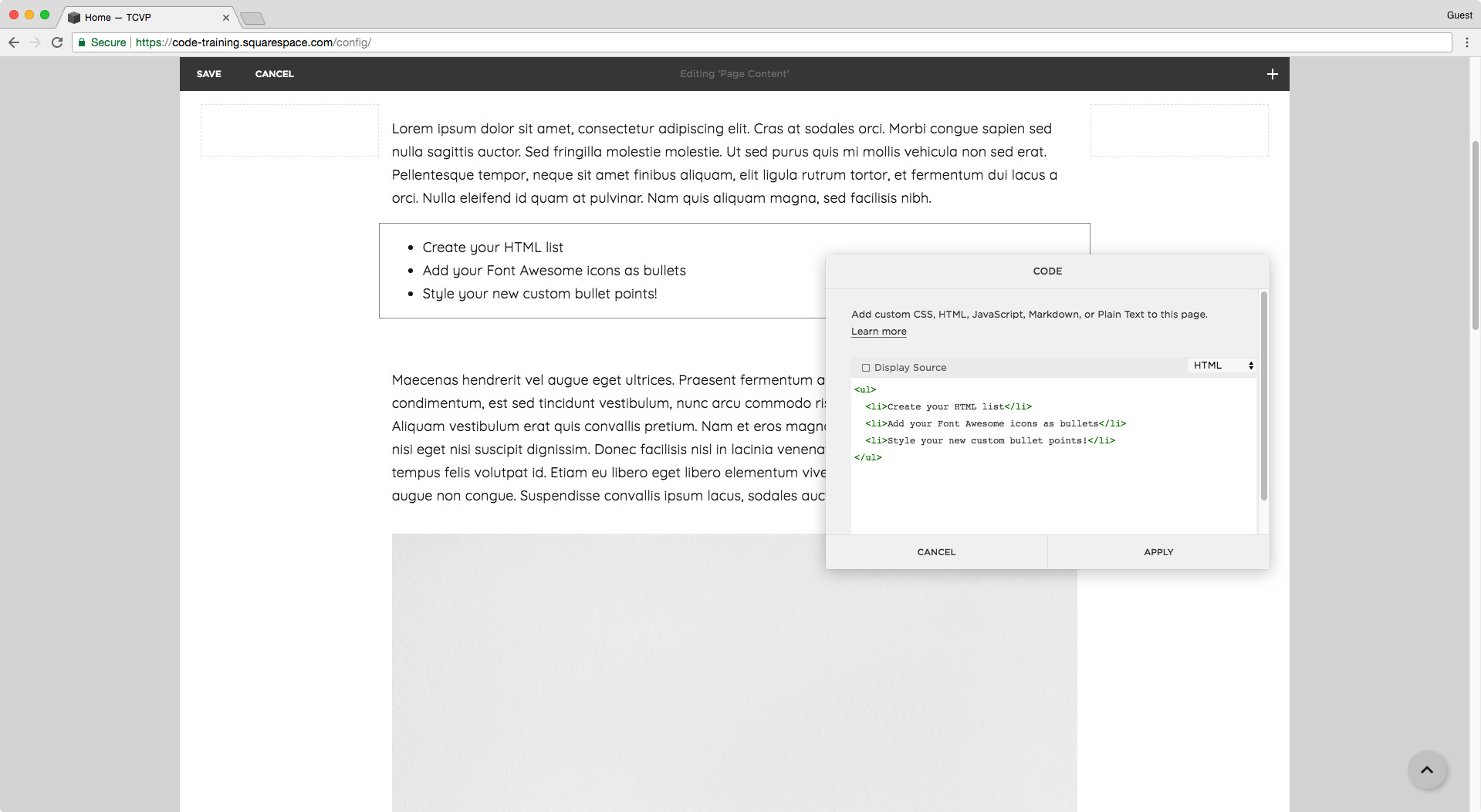 Creating an unordered list in Squarespace's code block.