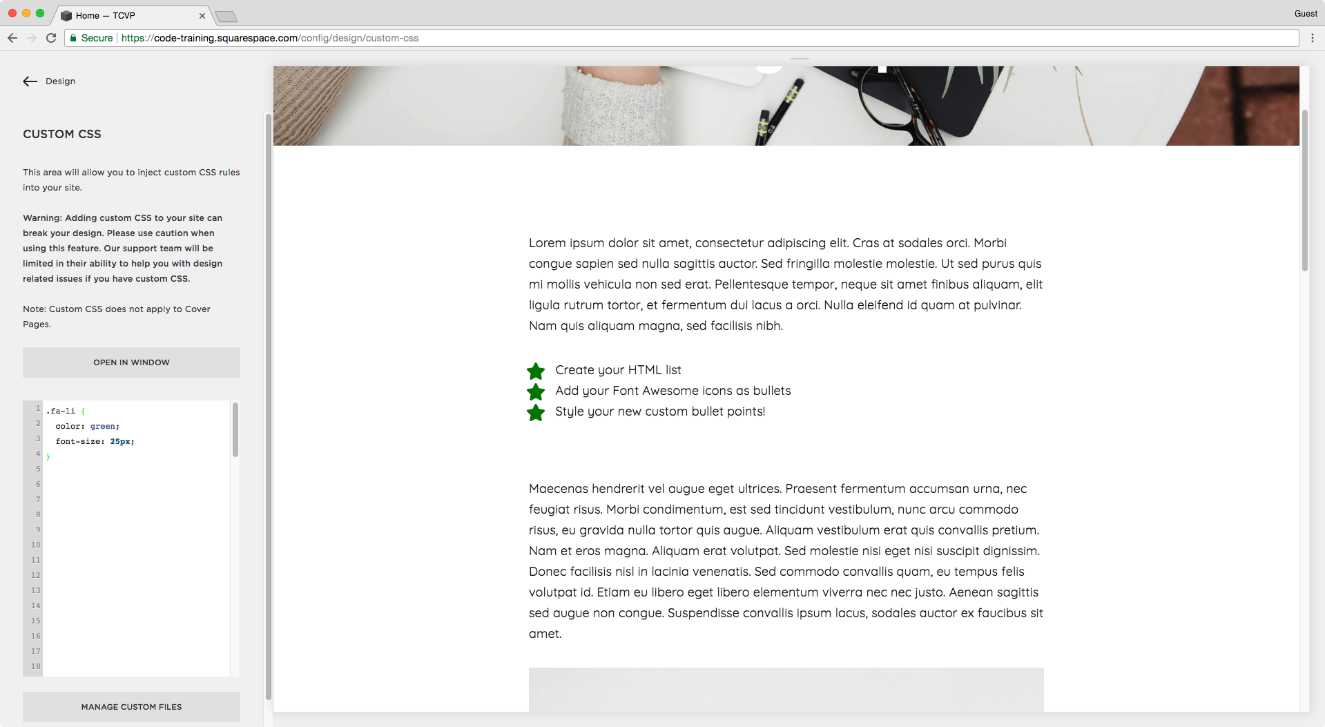 Adding styles to the custom CSS injection window in Squarespace.
