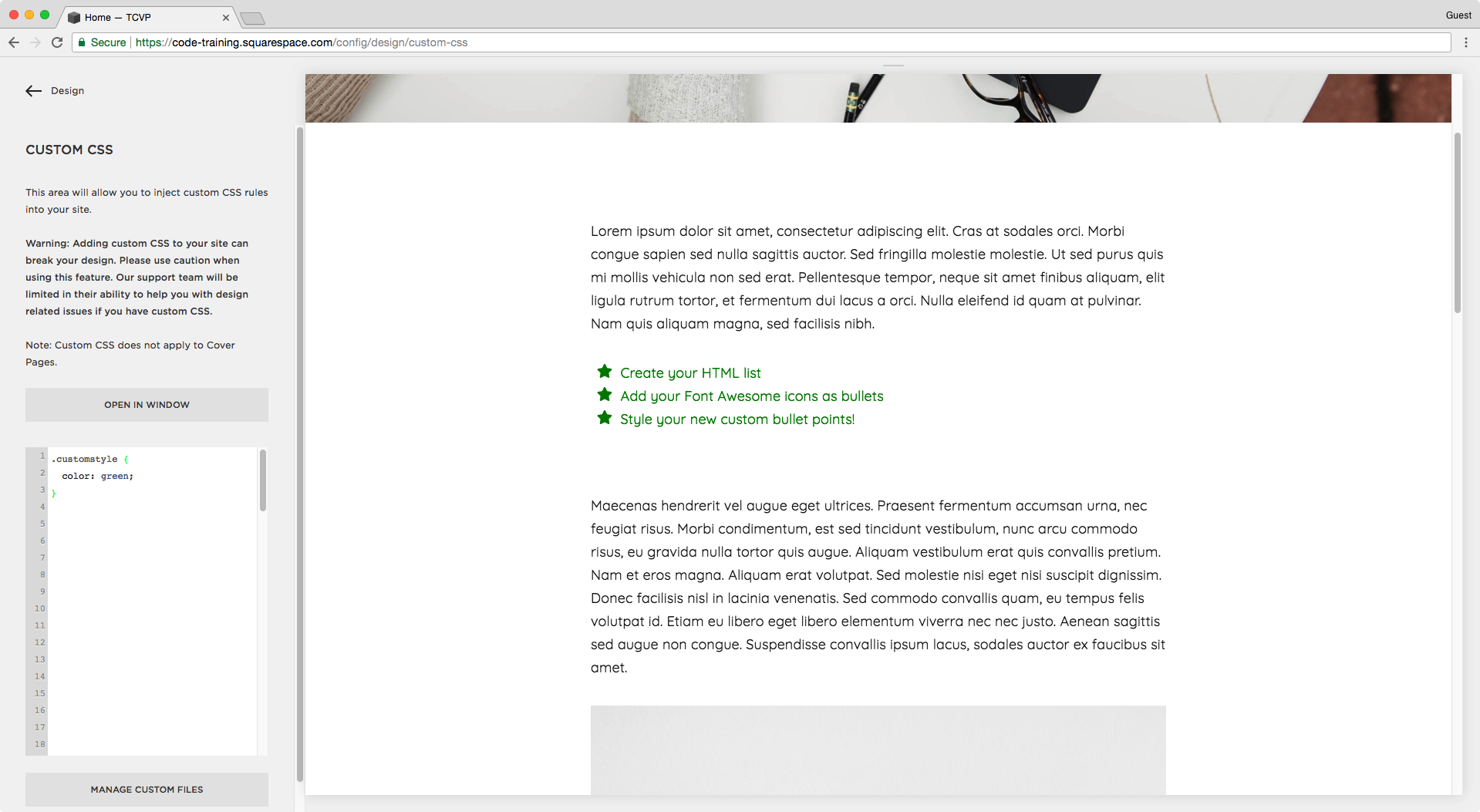 CSS for custom bullet list in Squarespace.png