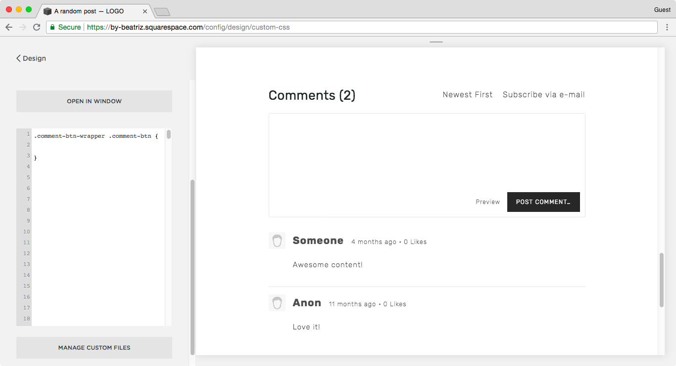 Adding the Post Comment button in the CSS Window