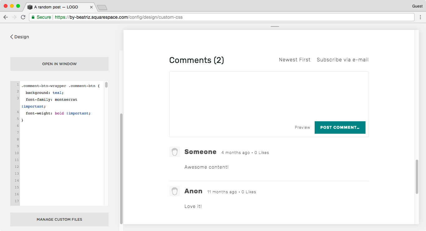 Changing the font of the Post Comment button in Squarespace