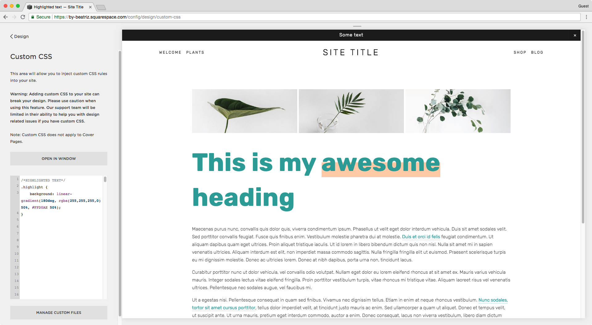 Adding a low highlight to a word inside an h1 in Squarespace