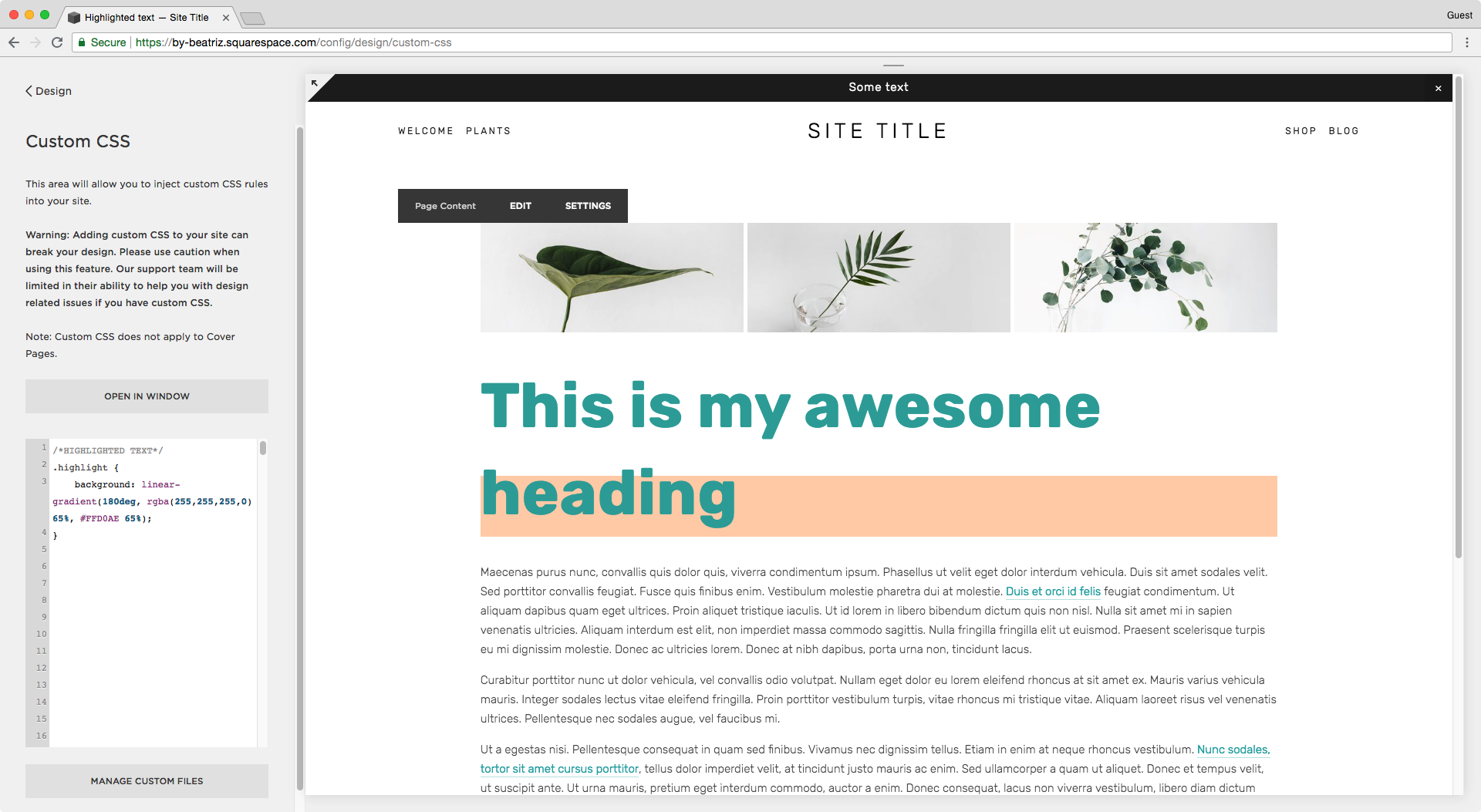 Background only behind the last word of the h1 in Squarespace