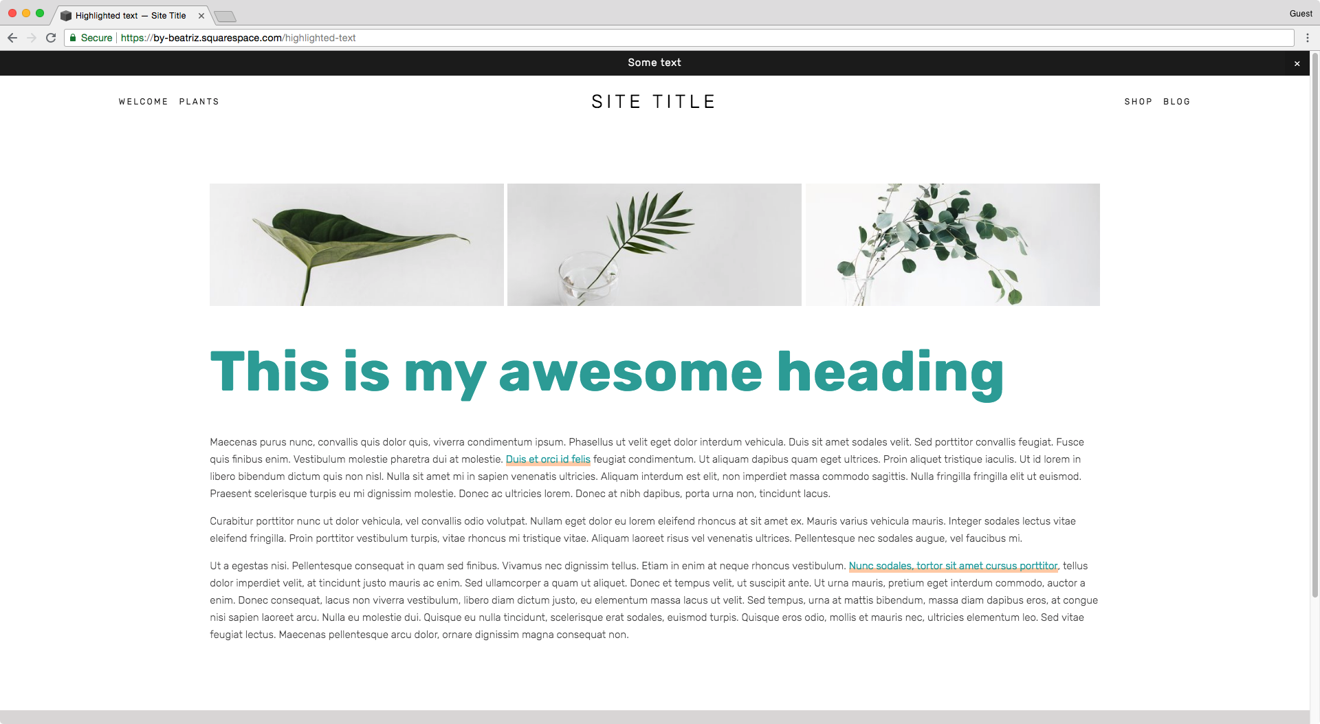 Adding a background highlight to body text links in Squarespace