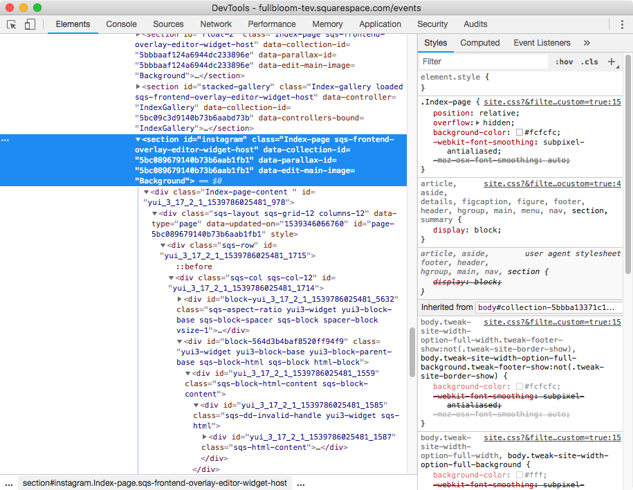 2. Targeting index section in Squarespace with CSS.png