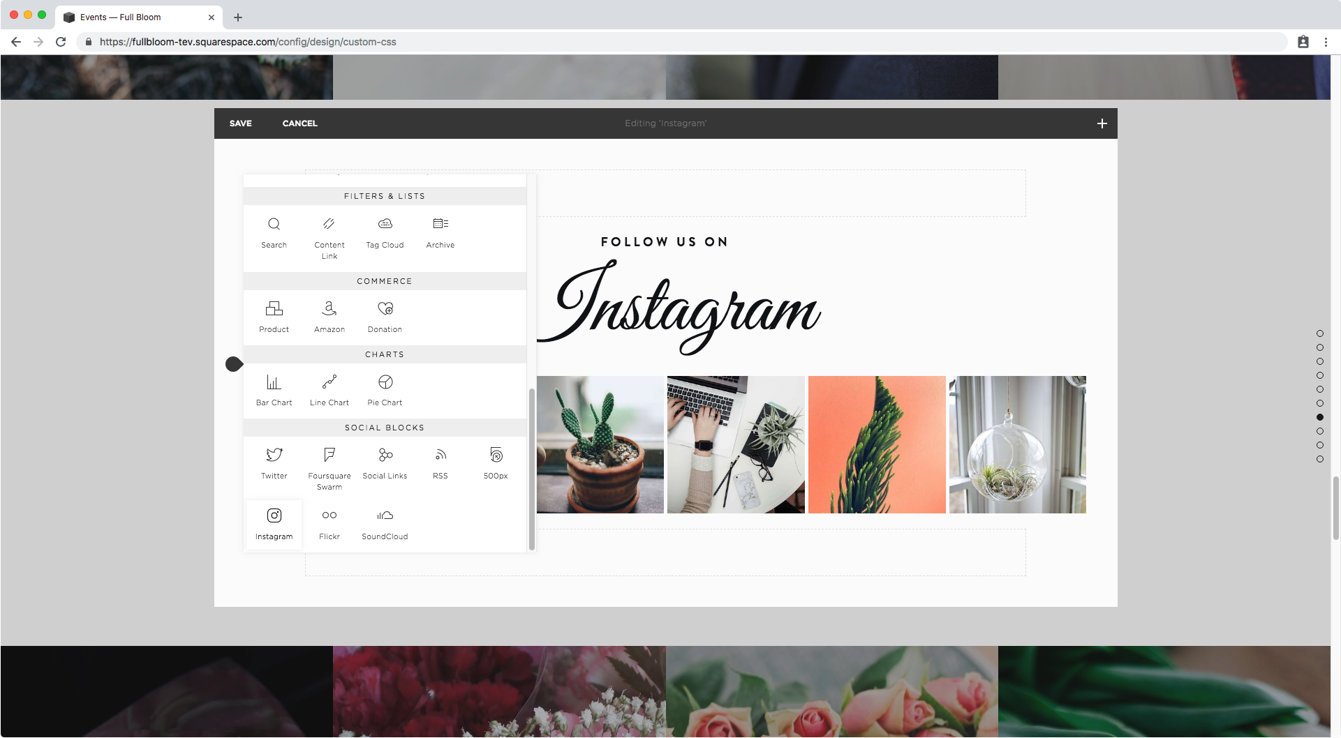 Adding an instagram block in Squarespace