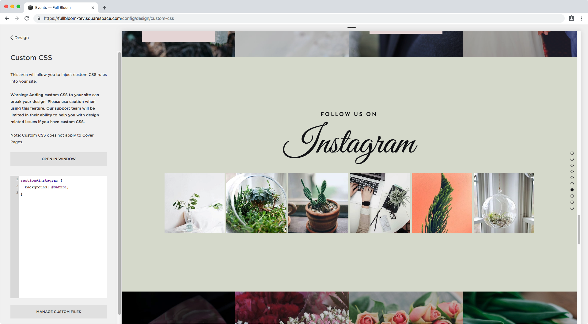 3. Adding background color to index section in Squarespace.png