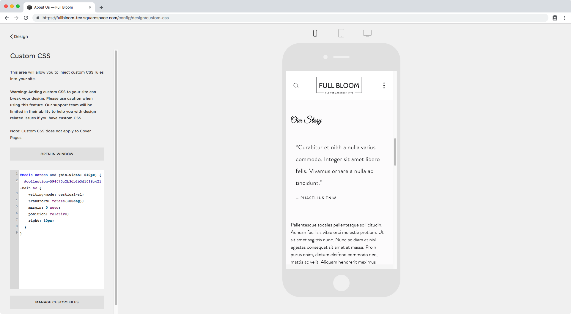 17. Vertical text in phone in Squarespace.png
