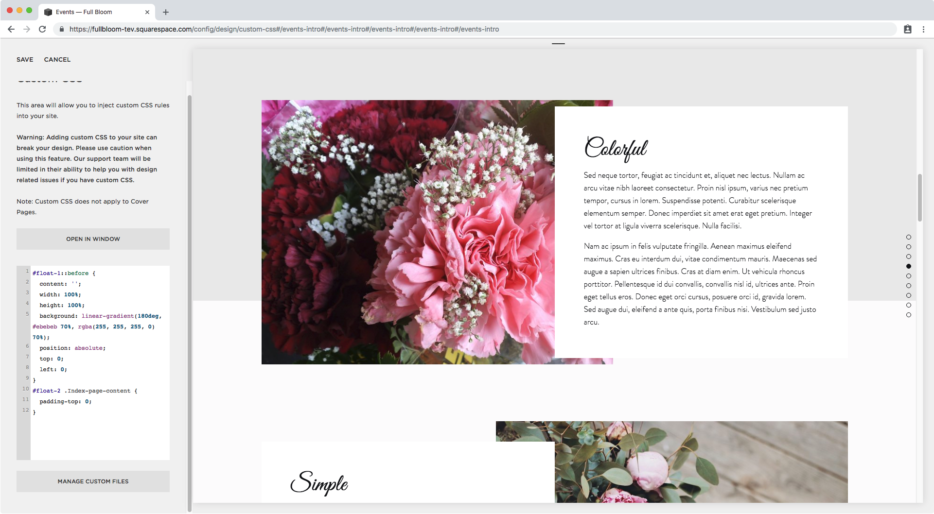 35. Floating images over index section Squarespace.png