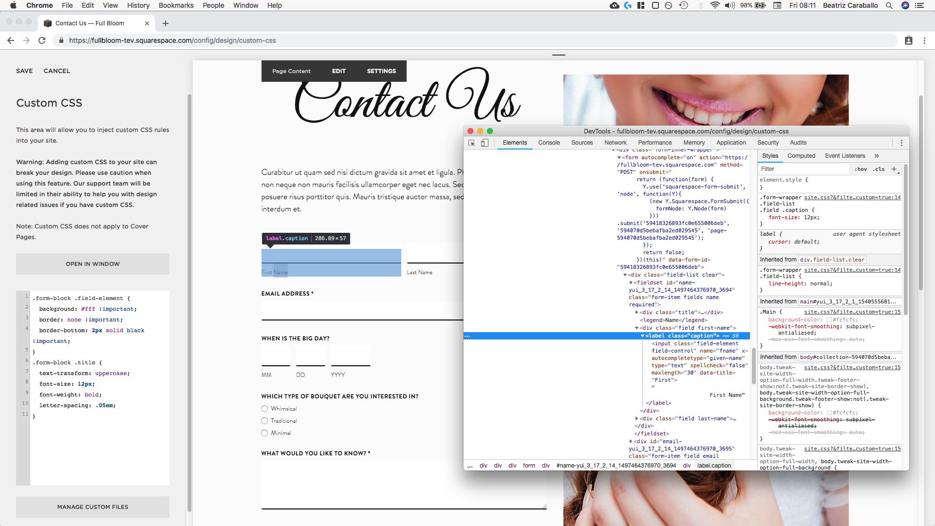 15. Targeting the first name and last name labels Squarespace.png