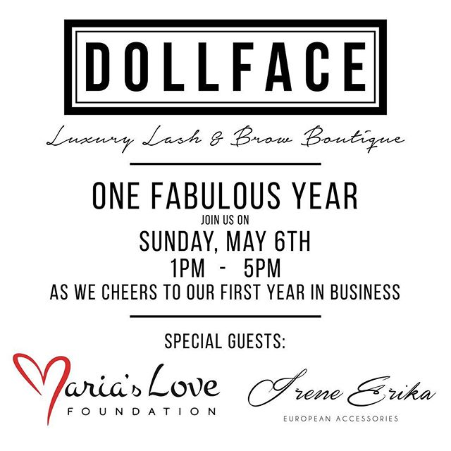 Mark your calendars ladies and gents!! Join us on SUNDAY, MAY 6TH as we cheers 🥂 to one fabulous year in business! Pop in for a drink or stay and have a cookie (or three). Network with woman owned businesses and mingle with us! All appointments booked that day will receive 10% off (excludes Microblading). Irene Erika @ireneerikax will be there exclusively releasing her 2018 Summer Collection of handbags and accessories. We will also be holding a fundraising raffle with fun prizes where all money raised will go to Mairas Love foundation @mariaslovefoundation Will we see u there?!