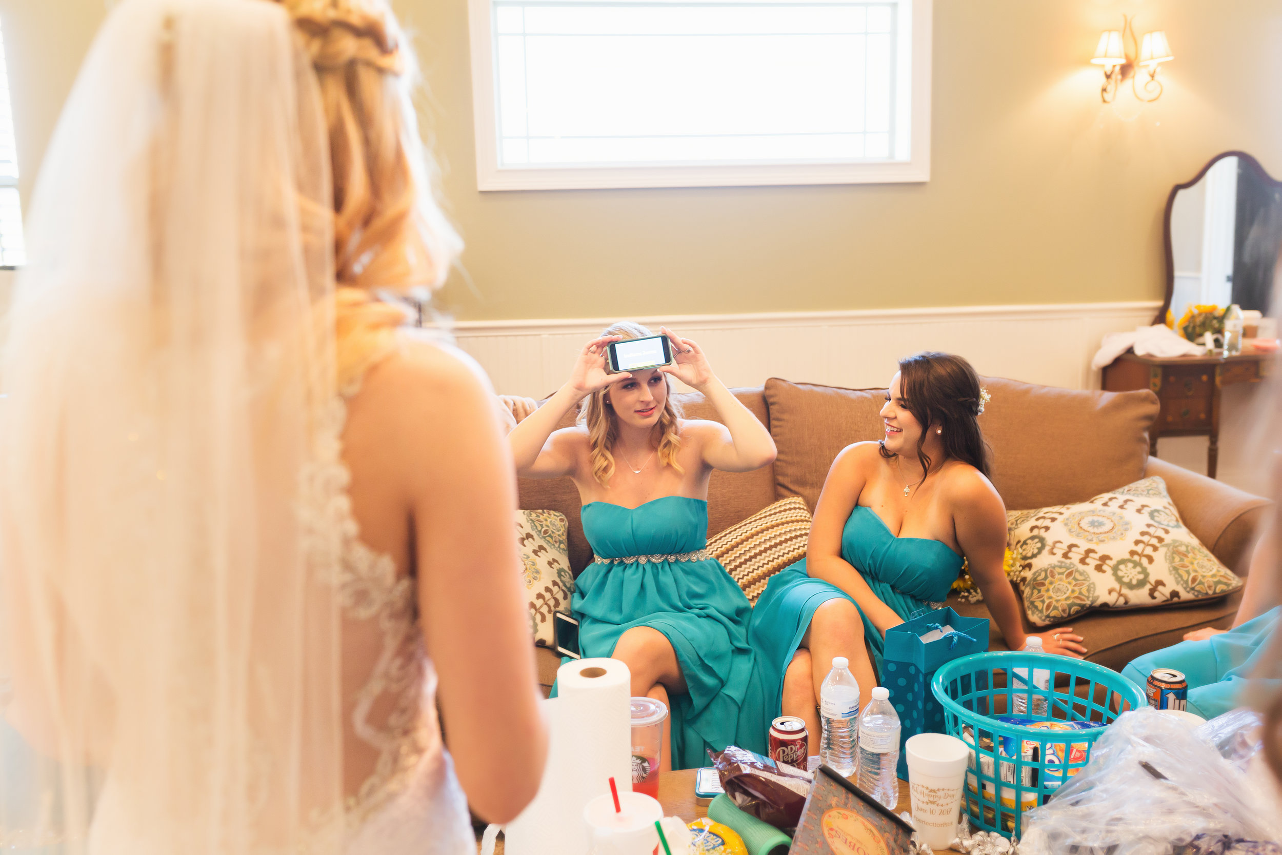 Bride playing Heads Up