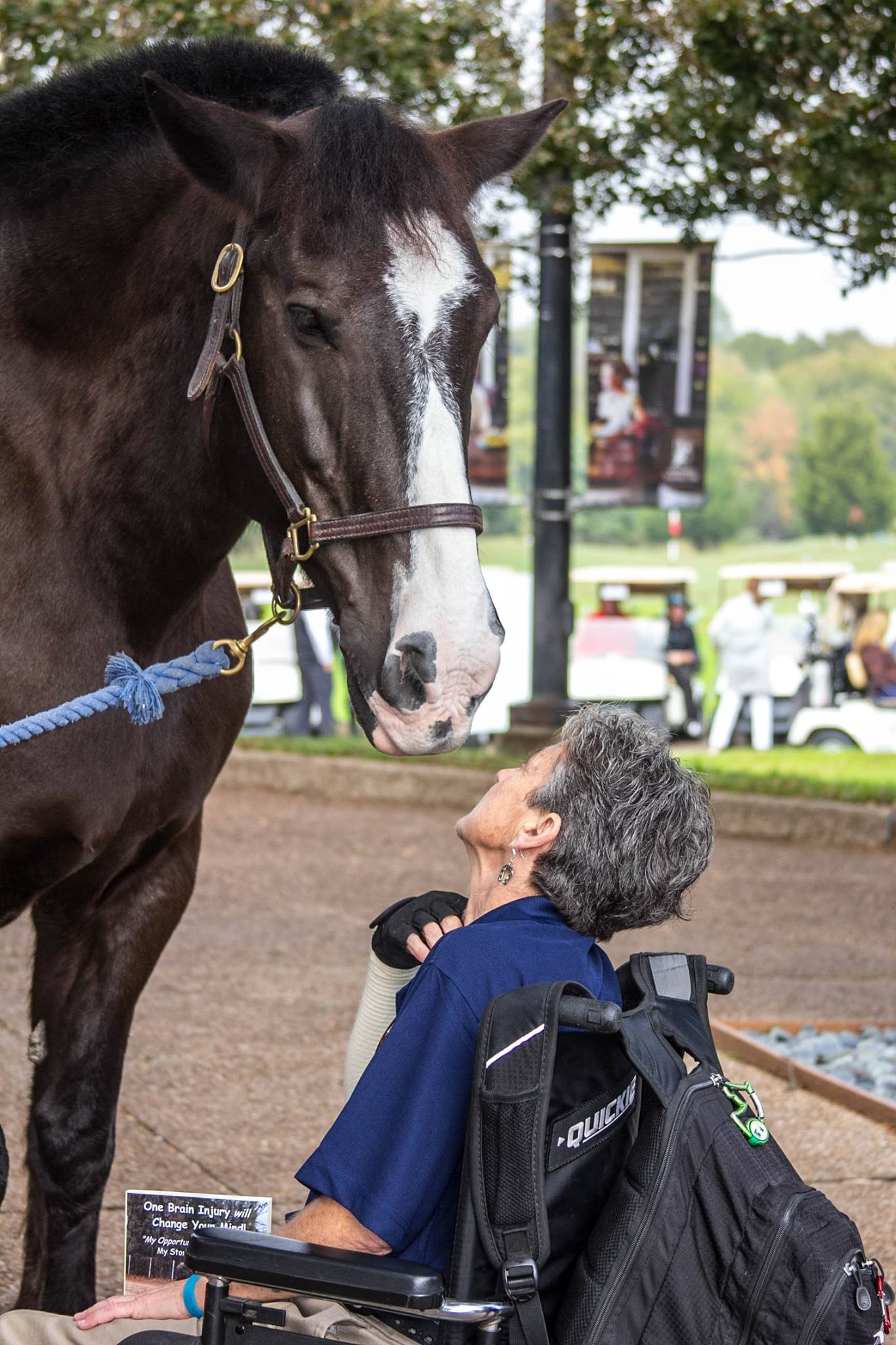 Deb and Equest Therapy Horse Dozer at Equest's Men's Auxilary Golf Tournament & Tribute Dinner benefiting Equest's Hooves for Heroes veteran program