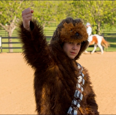John dressed as Chewy for StarWars-themed Equest Drill Team routine