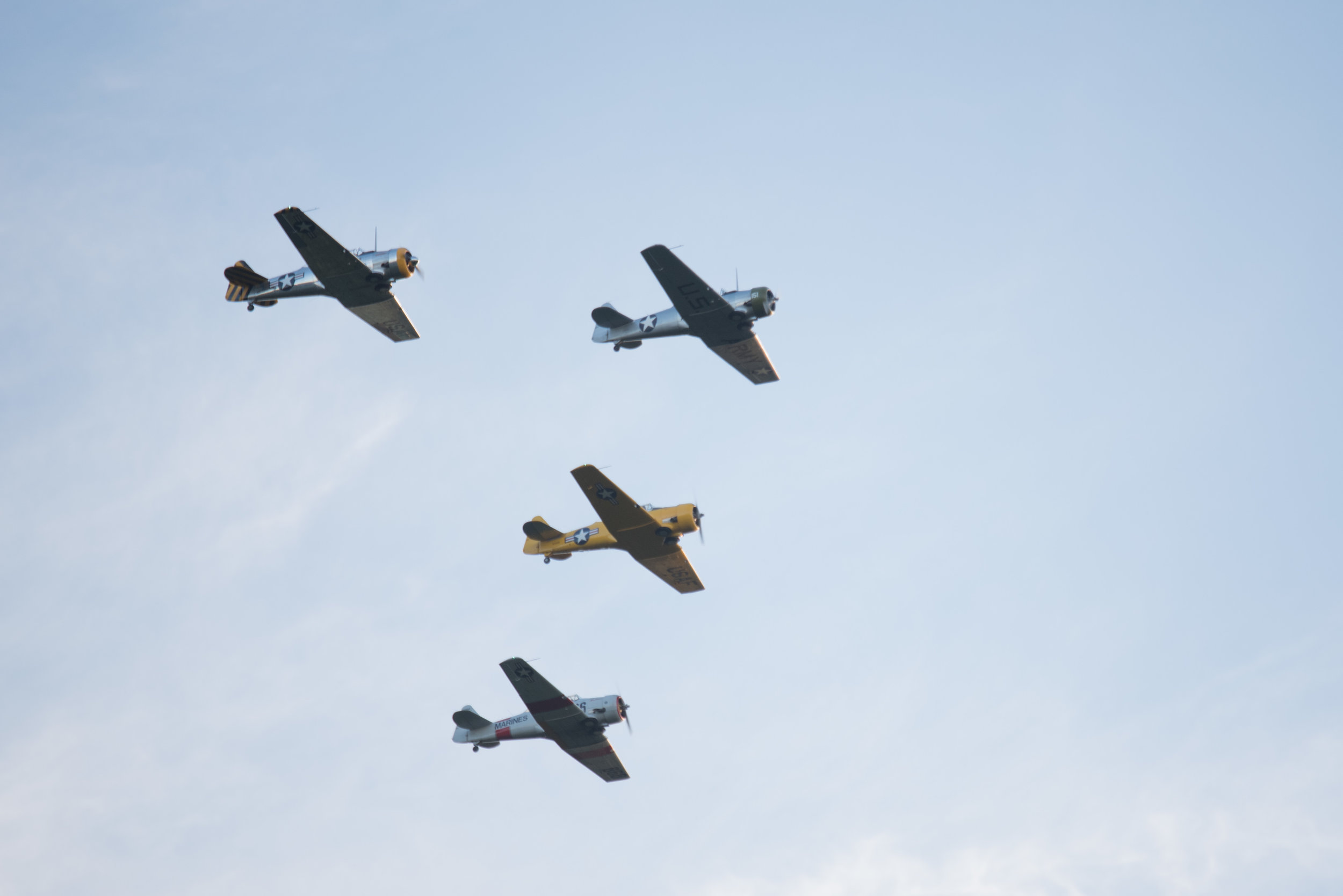 EQUEST-5227 - WWII T-6 Texan fly-over, Taylor Stevenson, Lanny Parcell, Carl Best, Tom Martin.jpg