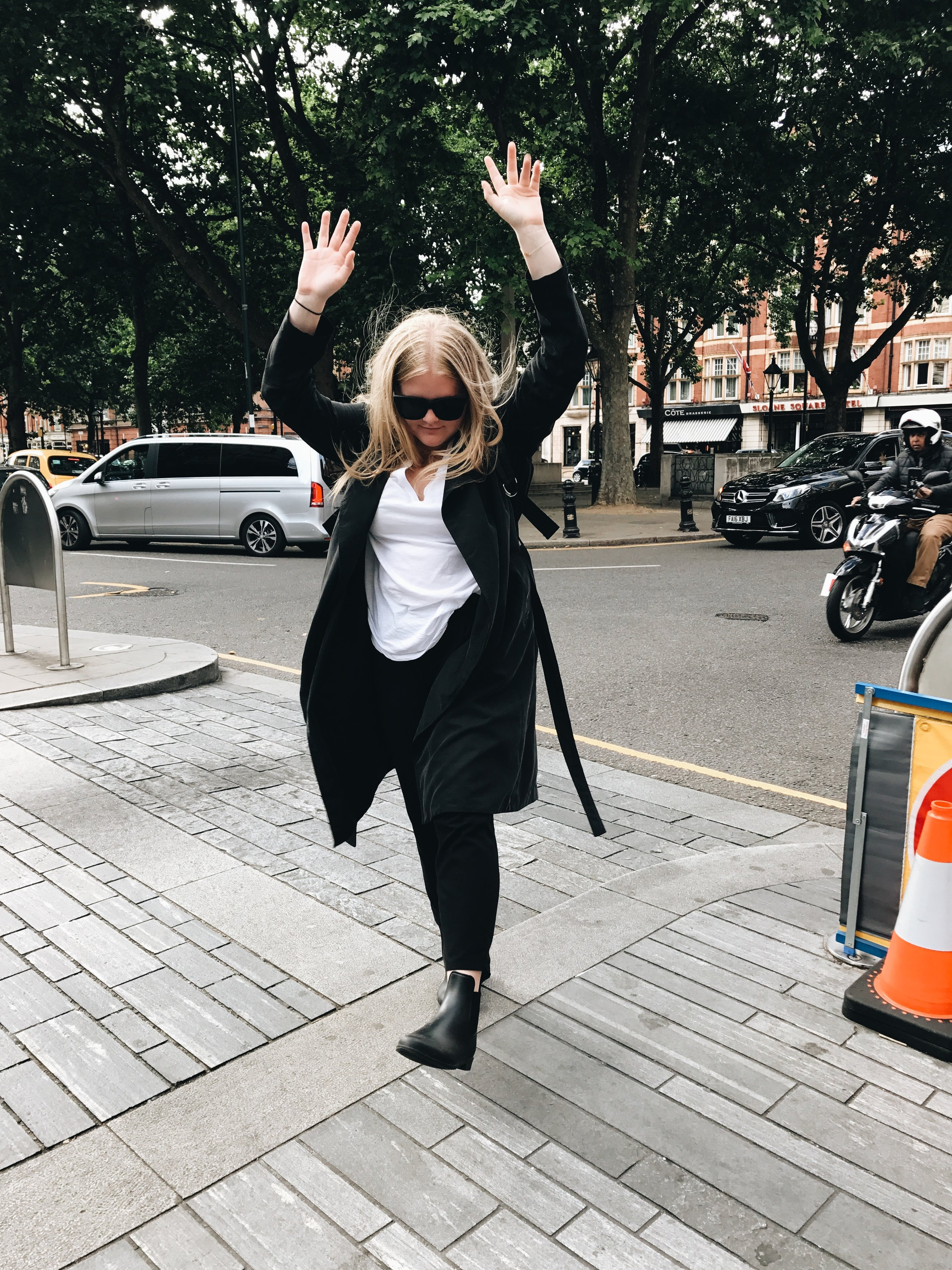 Clearly super excited to be in Sloane Square. Shop my look  here