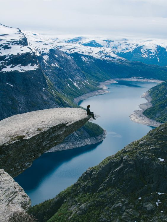 Trolltunga Cliff in Norway. {Image borrowed from Pinterest}