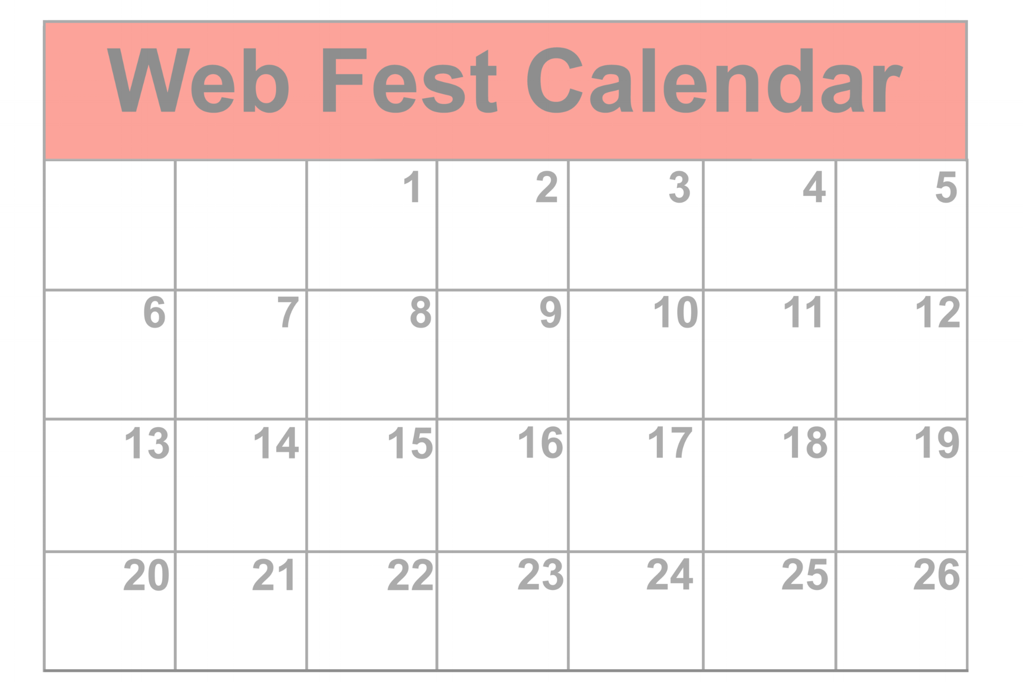 Check out the Web Fest Calendar
