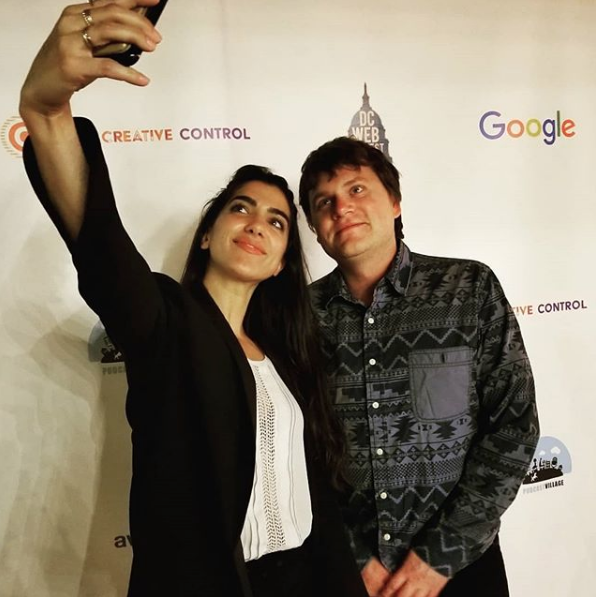 Credit:  @clickonthisshow   #selfietime !!  #ClickOnThisshow  Host  @mollynevola  with  #DCWebFestival   #awardwinner   #DrewRosas after his  #ClickOnThis  interview. Drew's web series  @shangrilashow  won the  #SilverAward for  #webseries  at the  @dcwebfest  #webserieschat   #shangrilashow  is a  #comedy  about a group of lovable idiots chasing the  #HollywoodDream  while surviving the streets of  #LA   #losangeles . It was great meeting you Drew at the  #dcwebfest !  #seekatv   #comedyseries  #originalseries