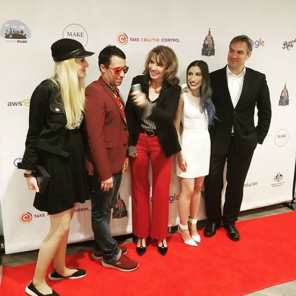 Credit:  @clickonthisshow  The Meeting of the Minds!! Host and  @bnmwebfest  co-founder  @nevakrauss  talks with other  #webfestival  #founders  at the 7th annual  @dcwebfest  In this pic- from left to right:  @roseofdolls and  #OliverMend  of  @biseriesland  from  #Spain   @otessa_  is the founder of the  @dcwebfest  And  @csongordobrotka  is the founder of  @dieseriale  from  #Germany