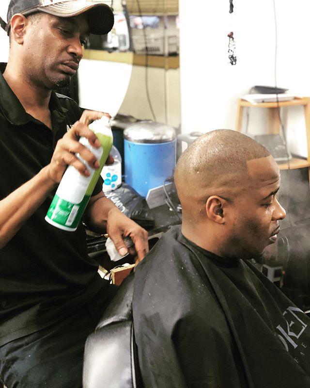 The finishing touch! #bostonbarbers #hairitisbarbershop #oilsheen #haircut