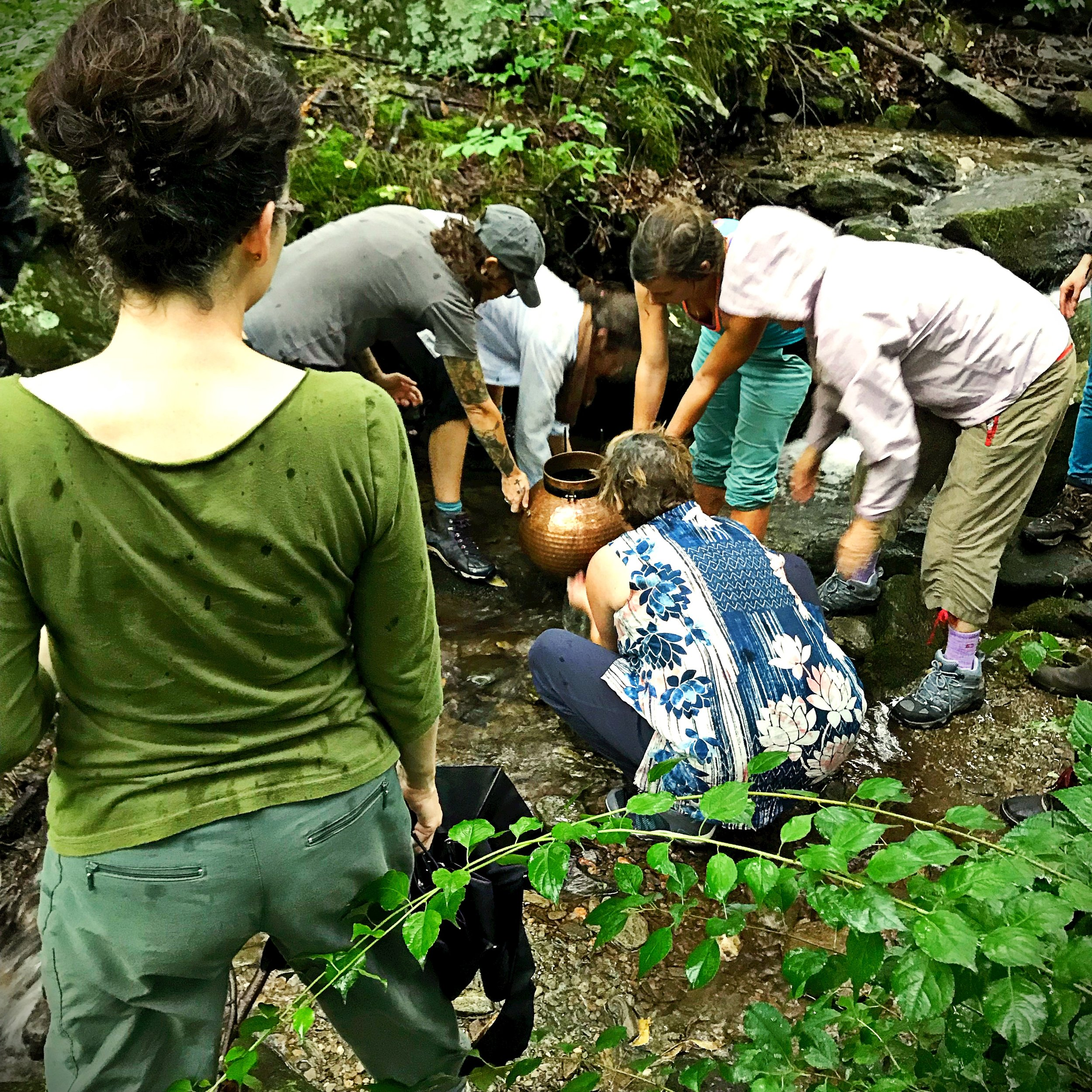 Collecting water from the creek to fill the copper still. Eclectic School of Herbal Medicine, July 2018. Photo: Erika Galentin