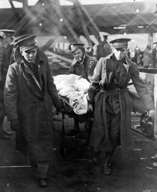 Stretcher bearers recover bodies from the Millfield Mine disaster in this image from the US Bureau of Mines. ( Photo courtesy of    Athens County Historical Society and Museum  )