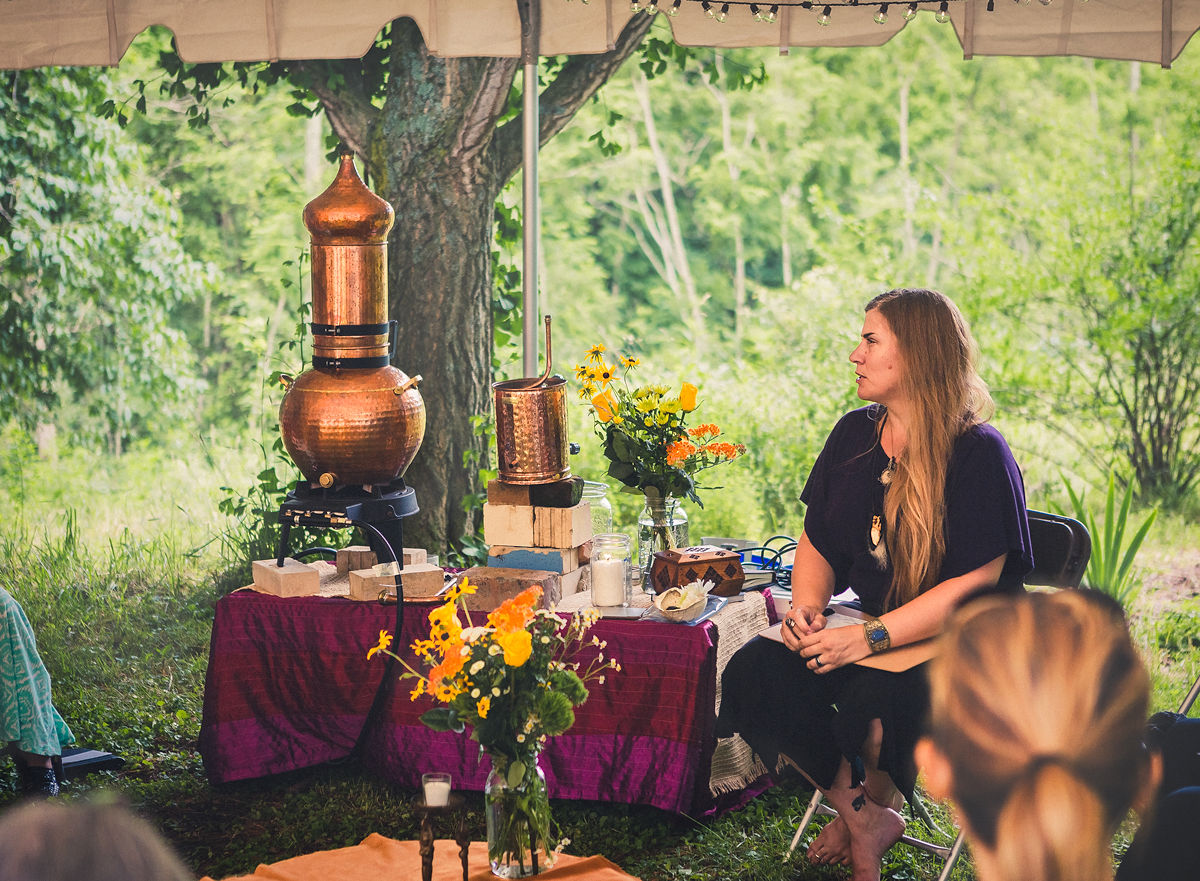 Erika Galentin teaching a distillation workshop at Sovereignty Herbs in Athens, Ohio. Photo:  January Heuss Photography