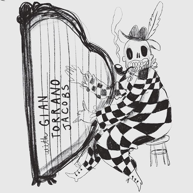 @gian.tj couldn't resist sharing this sketch 😛harpin devil 💀✨✨✨ . . . #harp #devil #cutie #illustration #drawing #sketch #procreate