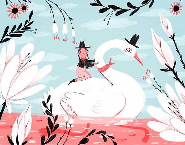 Giddy up pardner we bout to wrangle up some bad guys 🦆 . . . #illustration #painting #childrensbooks #procreate #swan #swanlake #garden #florals #flower #lotus #cowgirl #drawing #happyfriday