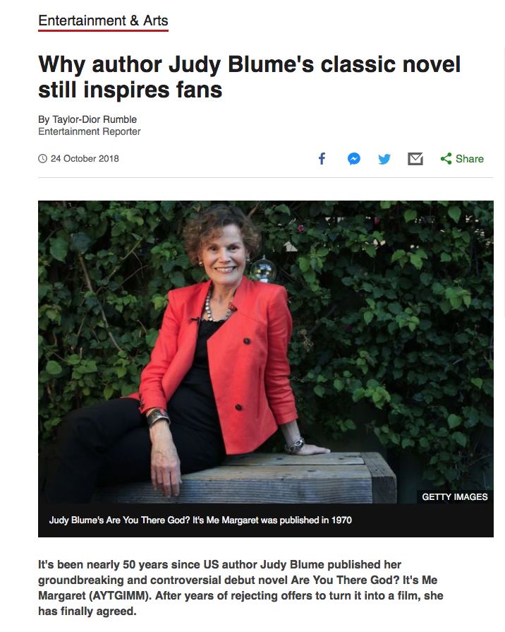 BBC News: Why author Judy Blume's classic novel still inspires fans