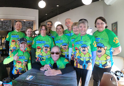 Some of the Ride with the PACC team at REN Coffeehouse. Photo courtesy of Jerry Rosen.