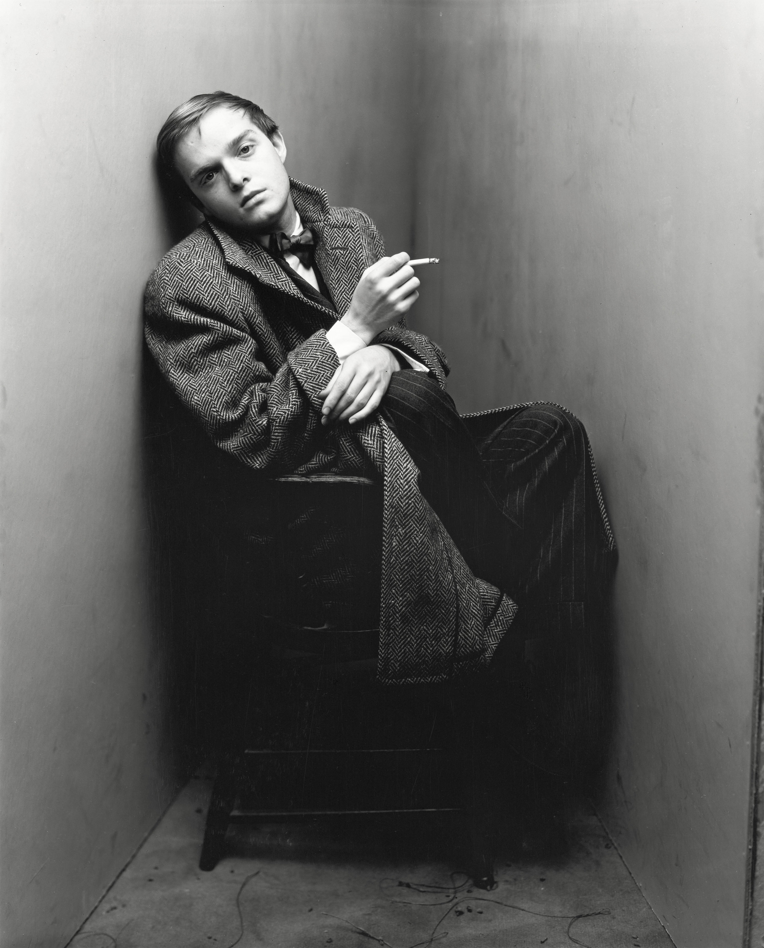 Irving Penn (American, 1917–2009)    Truman Capote , New York, 1948    Platinum-palladium print, 1968  15 7/8 × 15 3/8 in. (40.3 × 39.1 cm)  The Metropolitan Museum of Art, New York,  Purchase, The Horace W. Goldsmith  Foundation Gift, through Joyce and Robert Menschel, 1986  © The Irving Penn Foundation
