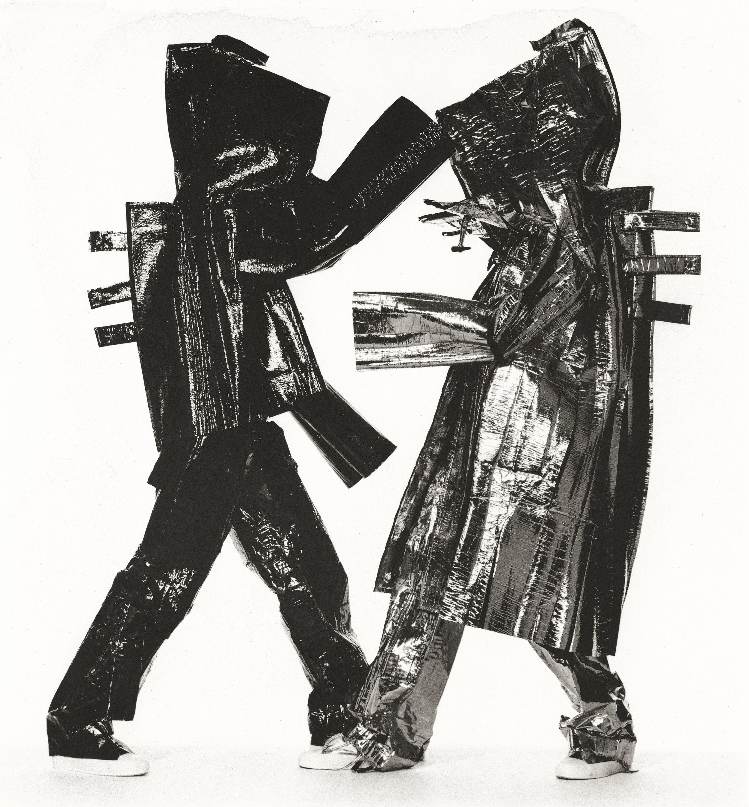 Irving Penn (American, 1917–2009)    Two Miyake Warriors , New York, 1998    Platinum-palladium print, 1999  21 × 19 ⅝ in. (53.5 × 49.8 cm)  The Metropolitan Museum of Art, New York  Promised Gift of The Irving Penn Foundation  © The Irving Penn Foundation