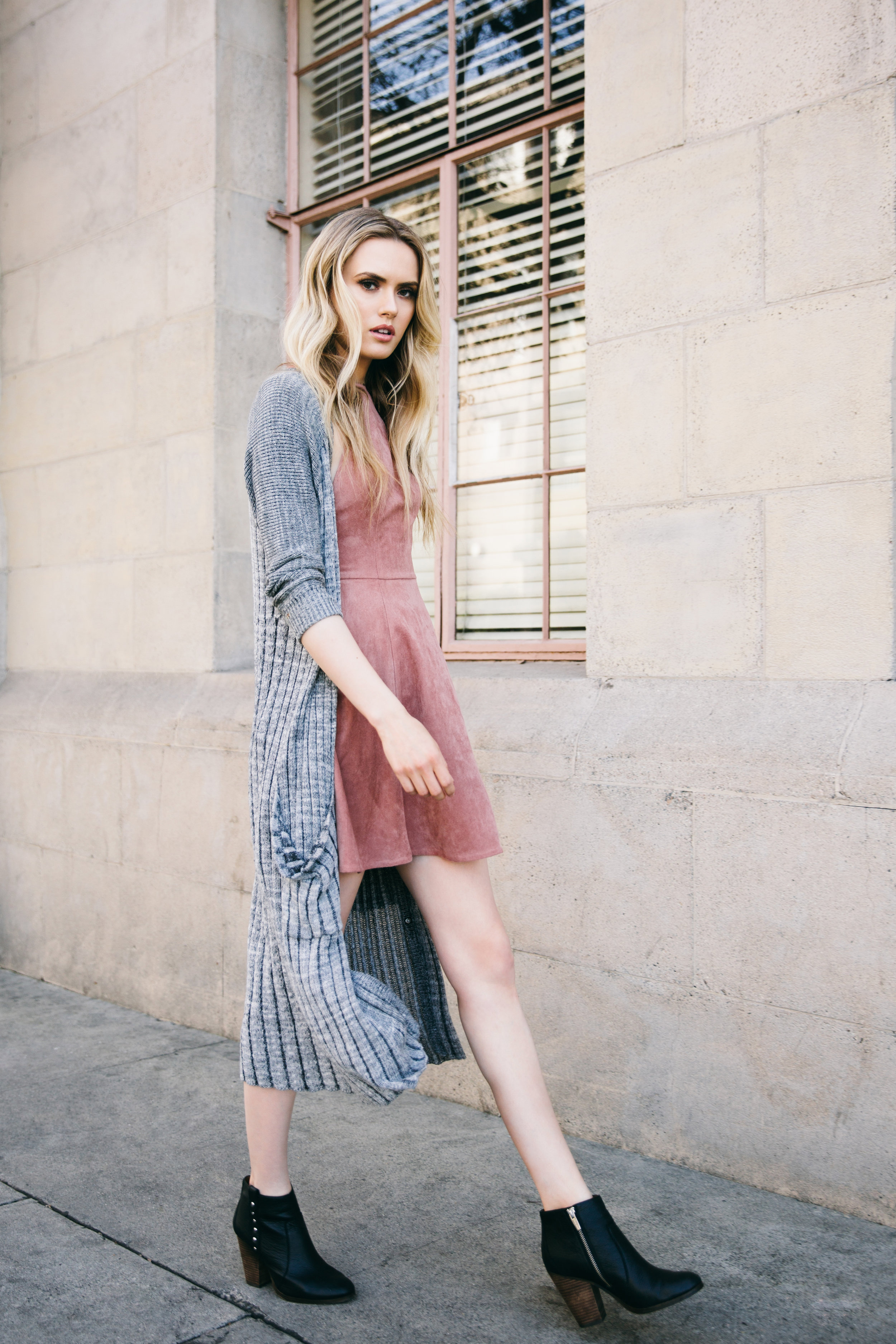Sweater: Free People  Dress: The Coverii  Shoes: Coach
