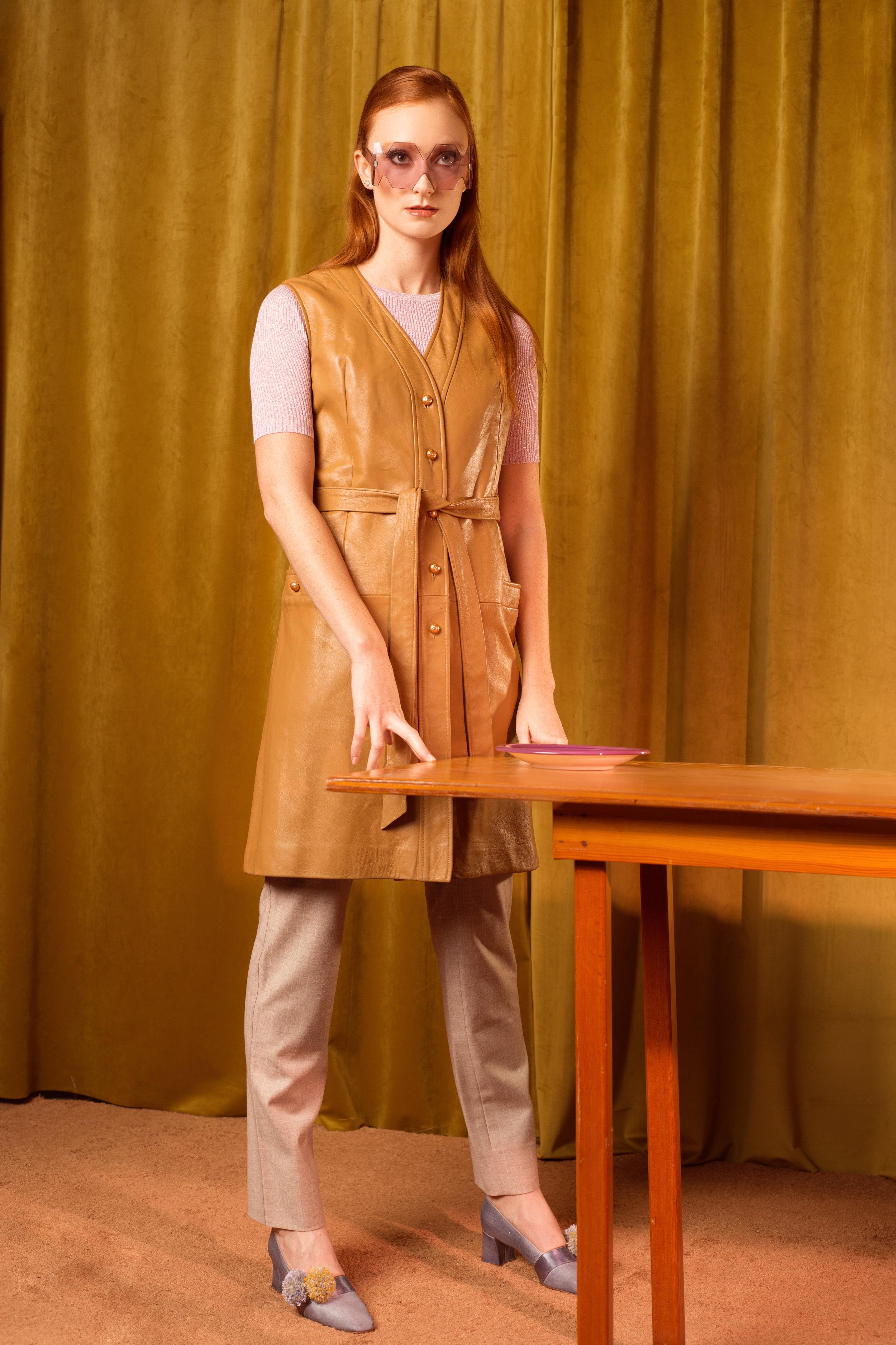 T-shirt Demylee NY  Pants: Coco Chanel  Shoes: Vintage  Pompom shoes: Claire Drennan Knitwear  Vest: Vintage