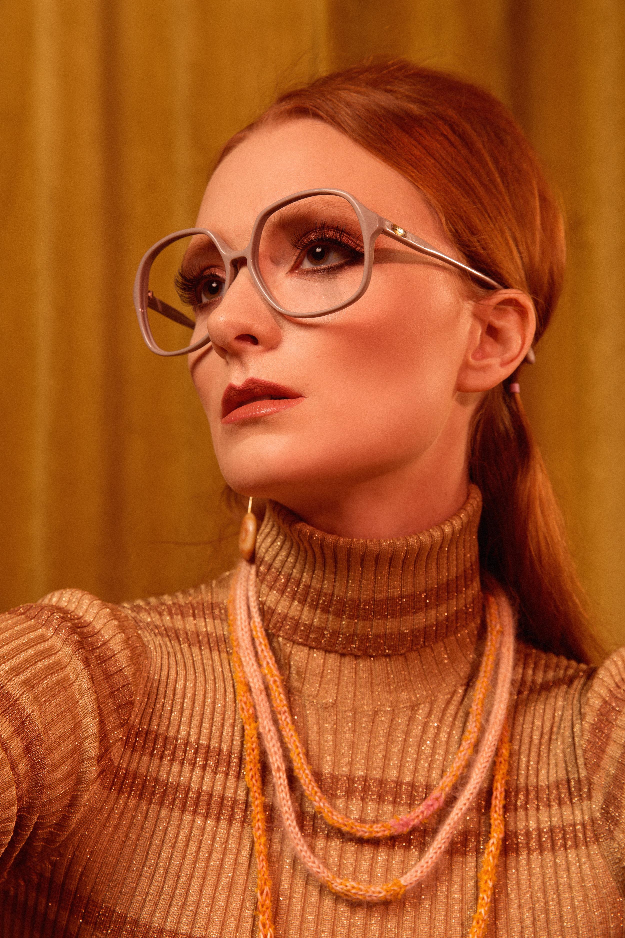 Turtleneck Gucci  Shoes Rachel Comey  Skirt: Chloe Dao  Earrings: Earthreverie  Socks: Asos  Necklace: Claire Drennan Knitwear