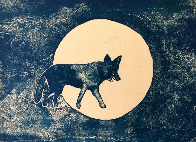 One of Vince Waring's cyanotype prints on view at the Parish Publick House.