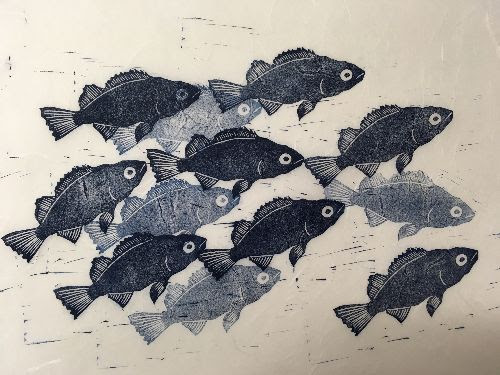 Detail of yoy fish, linoleum print on unryu paper by Janina A. Larenas