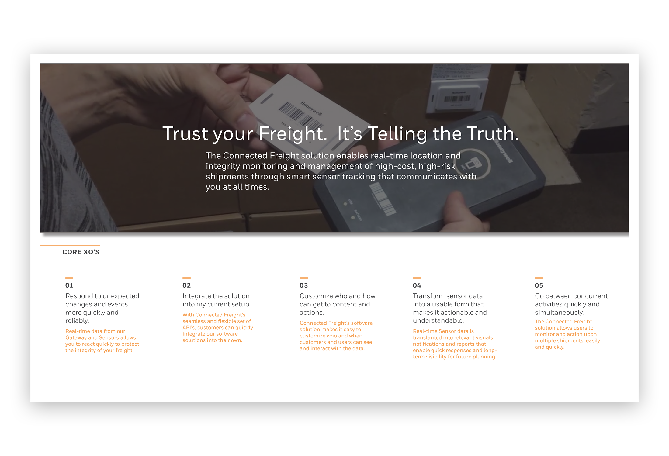 Connected Freight's 'Landing Page' with the 5 top Experience Outcomes.