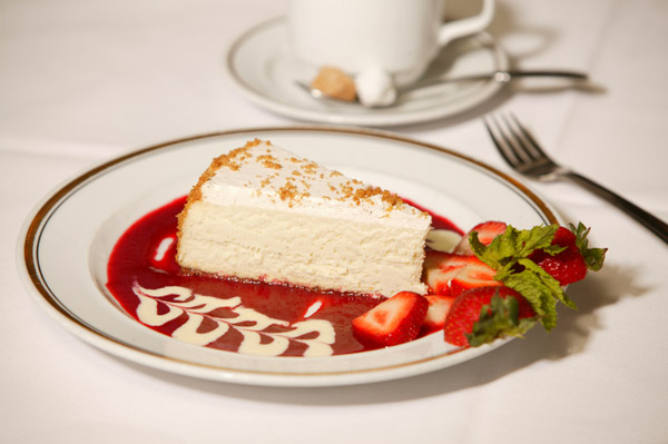 New York Cheesecake with Raspberry Sauce.