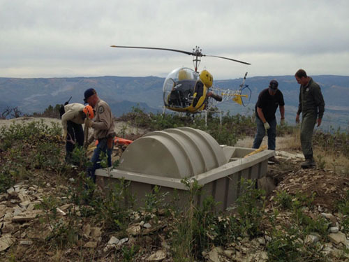 Wildlife Water Guzzler Airlifted in Colorado