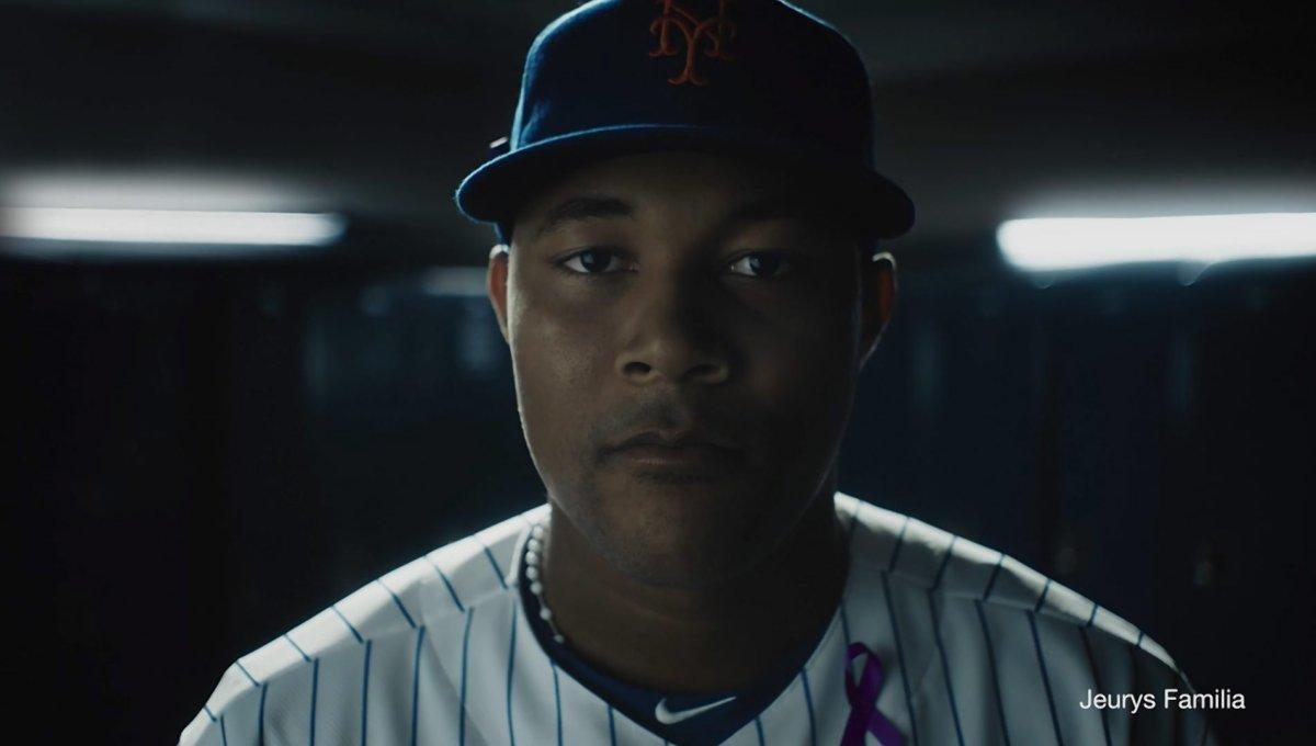 The New York Mets Pitcher in a PSA sponsored by the National Coalition Against Domestic Violence ©2017 NCADV