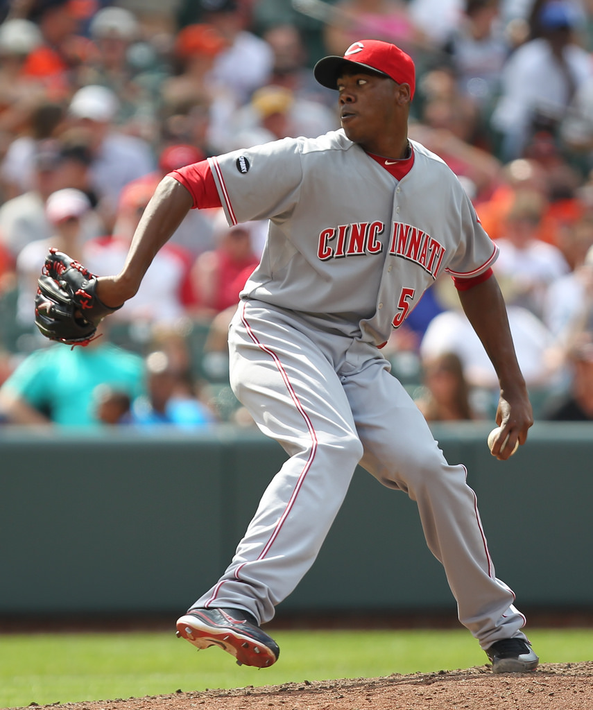 Aroldis Chapman Pitching for the Cincinnati Reds  ©2011 Keith Allison