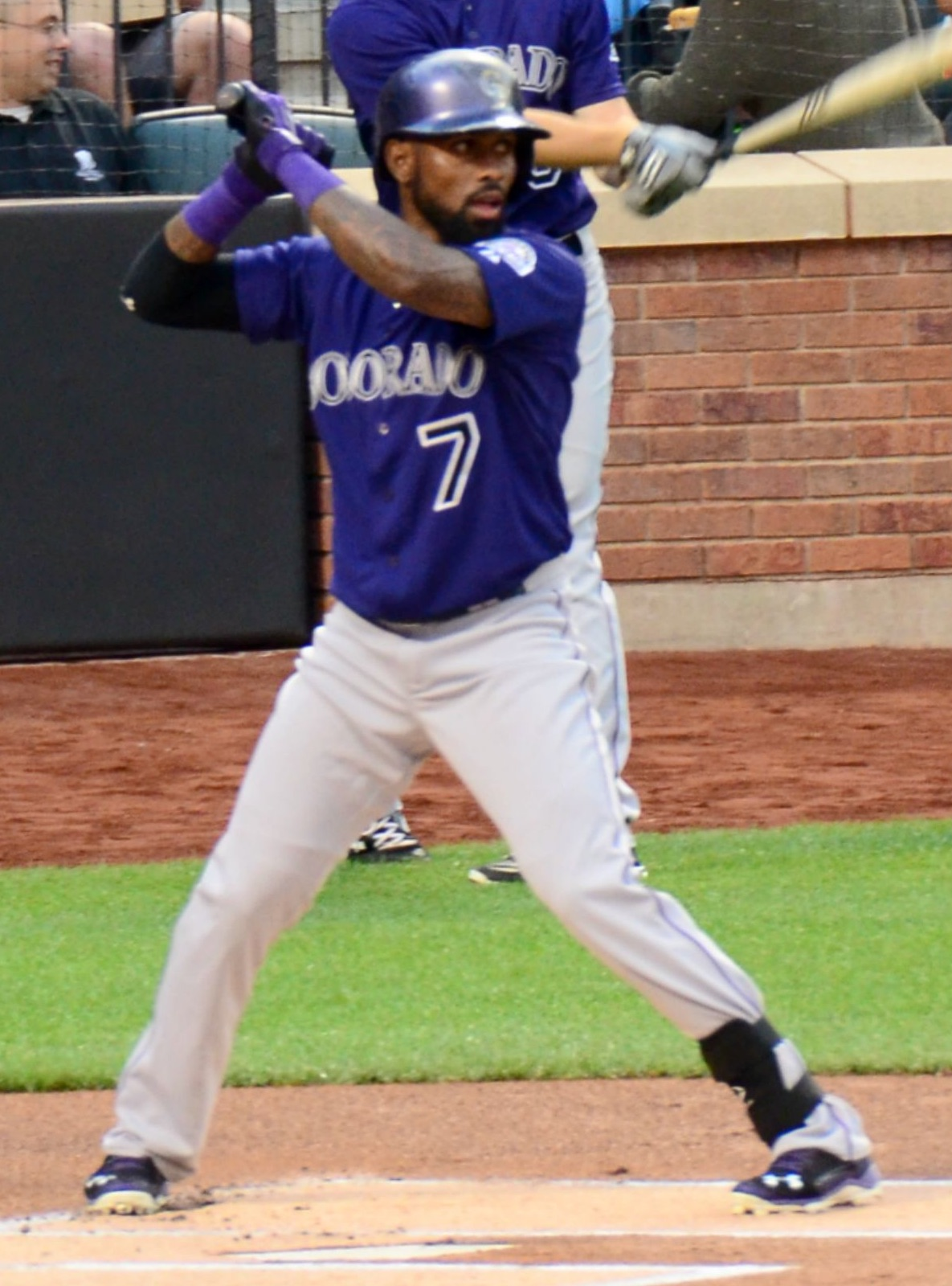 José Reyes Batting for the Colorado Rockies [cropped] ©2015  slgckgc