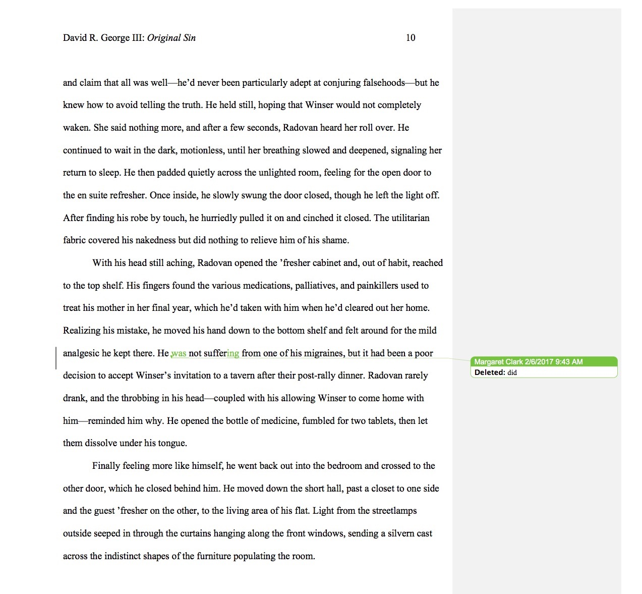 A page of my  Original Sin first draft, edited by Margaret Clark ©2017 David R. George III