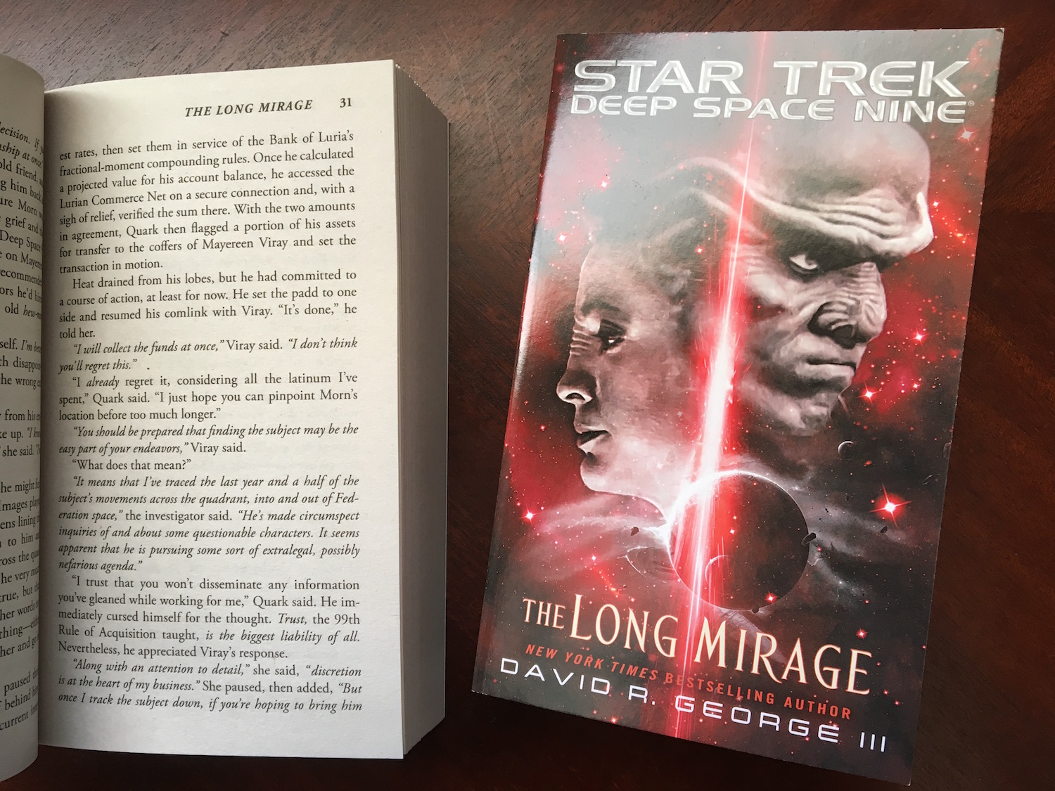 An example of italic type used for remote communication in  Star Trek novels ©2017 David R. George III
